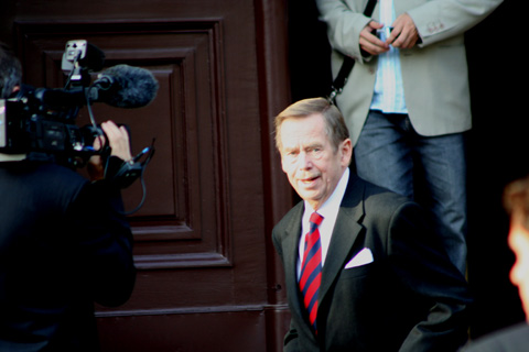 "Former President Vaclav Havel nodding ""hello"" but not waving..."