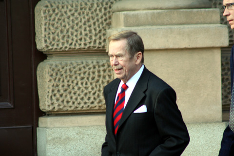 Former President Vaclav Havel often walks with his hands in his pockets