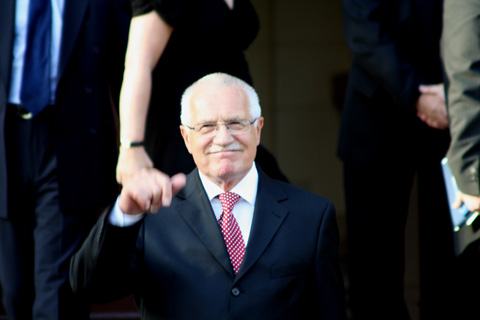 President Vaclav Klaus saying hello...