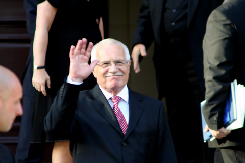 President Vaclav Klaus leaving the Constitutional Court