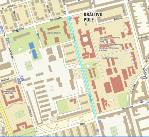A map showing (in blue) a stretch of a street where the municipal police frequently place their radars. (c) MP Brno